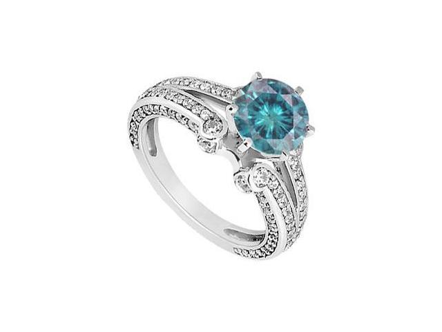 Blue Diamond Engagement Ring  14K White Gold - 1.25 CT Diamonds