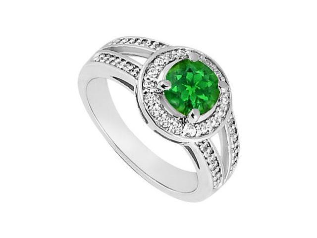 May Birthstone Created Emerald  CZ Split Shank Halo Engagement Rings 14K White Gold 1 CT TGW