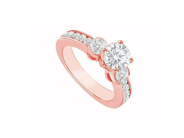 April Birthstone Three Stone Diamond Engagement Ring in 14K Rose Gold 1.40 CT TDW