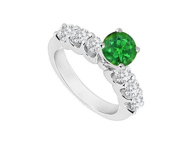 May Birthstone Created Emerald  CZ Engagement Rings 14K White Gold 0.80 CT TGW