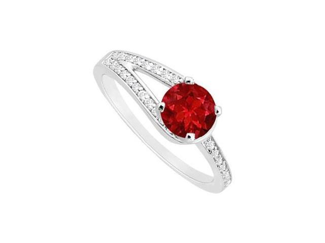 Created Ruby and Cubic Zirconia Motif Engagement Ring in 14K White Gold 0.75 ct.tgw
