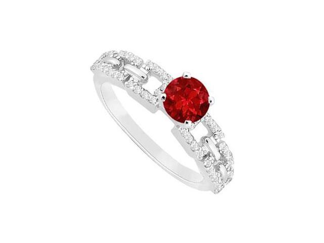 July Birthstone Created Ruby  CZ Engagement Ring 14K White Gold 0.75 ct.tgw