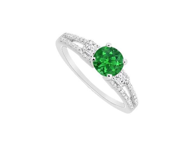 May Birthstone Natural Emerald with Diamond in 14K White Gold Engagement Ring 0.85 CT TGW