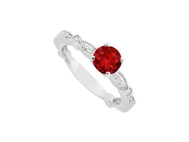 July Birthstone Created Ruby and CZ Milgrain Engagement Ring in 14K White Gold 0.75 ct.tgw