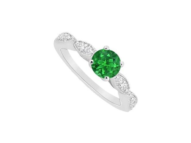 May Birthstone Natural Emerald and Diamond Engagement Ring in 14K White Gold 0.75 CT TGW