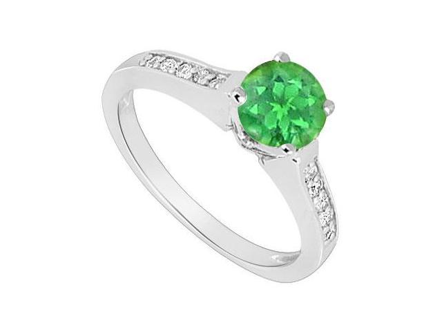May Birthstone Created Emerald  CZ Engagement Ring 14kt White Gold 0.60 CT TGW