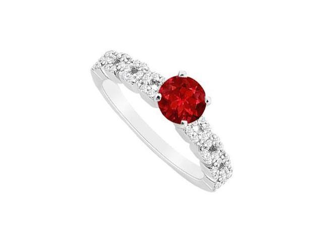 July Birthstone Created Ruby and CZ Engagement Ring in 14K White Gold 0.75 ct.tgw
