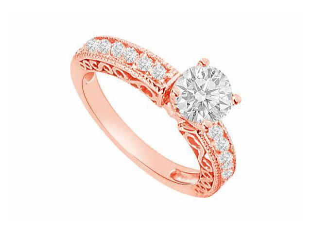 April Birthstone Diamond Filigree Engagement Ring in 14K Rose Gold 1.00 CT TDW