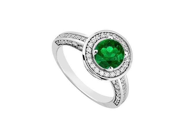 14K White Gold Emerald  Diamond Engagement Ring 1.25 CT TGW
