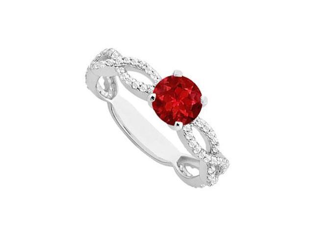 Created Ruby and Cubic Zirconia Engagement Ring in 14K White Gold 1.00.ct.tgw