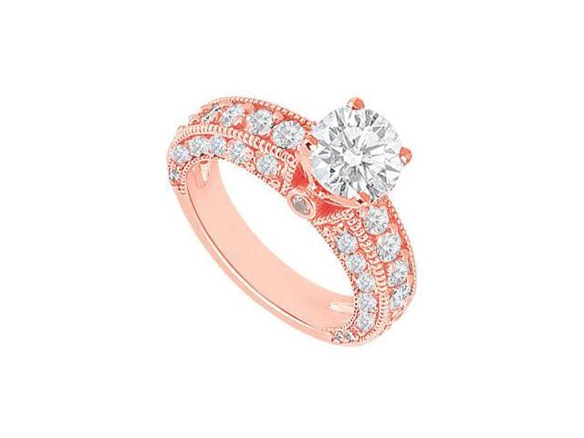 April Birthstone Diamond Milgrain Engagement Ring in 14K Rose Gold 2.00 CT TDW