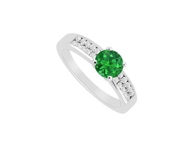 May Birthstone Natural emerald with Two Row Diamonds 14K White Gold Engagement Ring 0.75 CT TGW