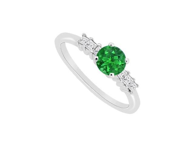 May Birthstone Natural Emerald and Diamond Engagement Ring in 14K White Gold 0.60 CT TGW