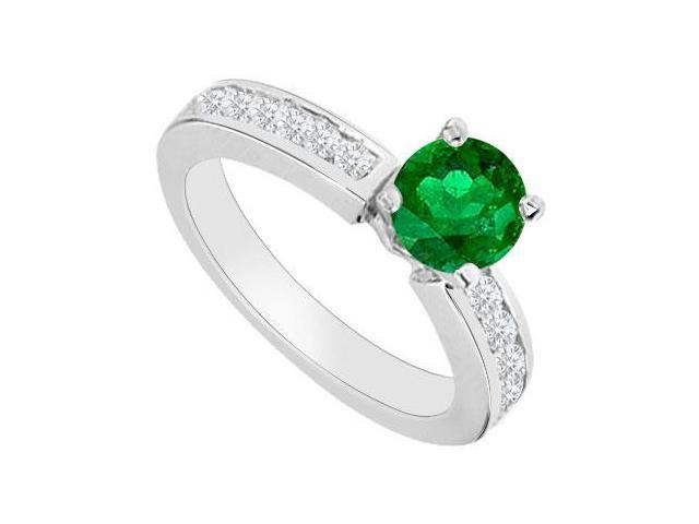 May Birthstone Created Emerald and CZ Engagement Rings in 14K White Gold 0.80 CT TGW
