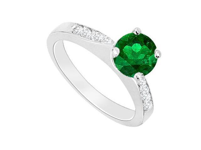 May Birthstone Created Emerald  CZ Engagement Rings 14kt White Gold 0.75 CT TGW