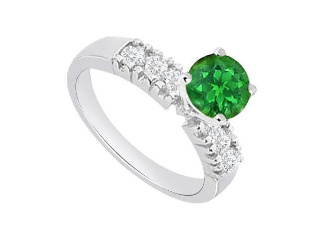 May Birthstone Created Emerald and Cubic Zirconia Engagement Rings 14kt White Gold 1 CT TGW