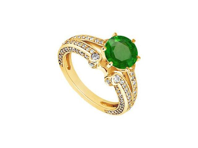 Emerald and Diamond Engagement Ring  14K Yellow Gold - 1.75 CT TGW