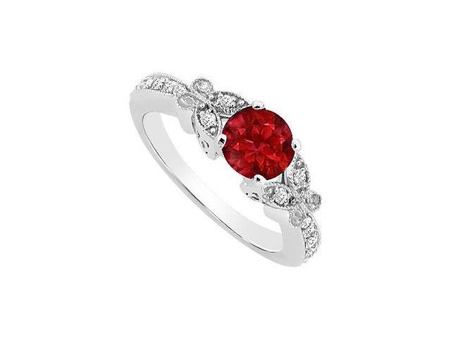 Created Ruby and Cubic Zirconia Butterfly Engagement Ring in 14K White Gold 0.66.ct.tgw