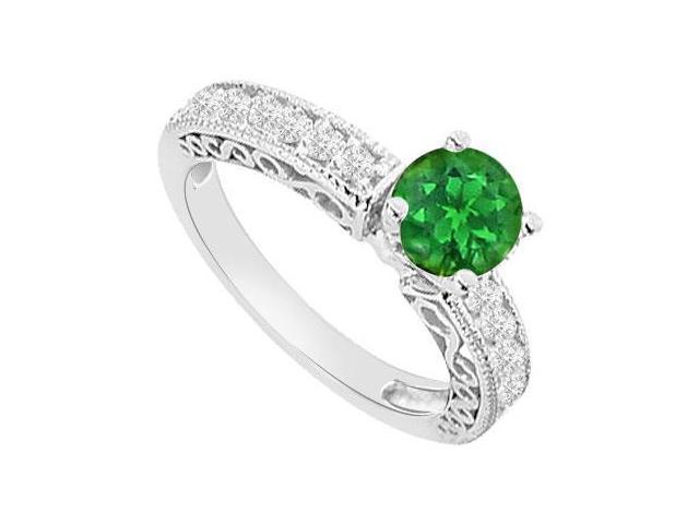 May Birthstone Created Emerald  CZ Filigree Engagement Rings 14K White Gold 1 CT TGW