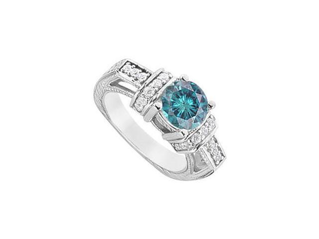Blue Diamond Engagement Ring  14K White Gold - 1.50 CT Diamonds