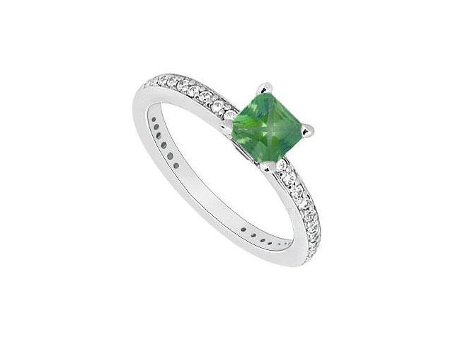 14K White Gold Princess Cut Emerald  Diamond Engagement Ring 0.60 CT TGW