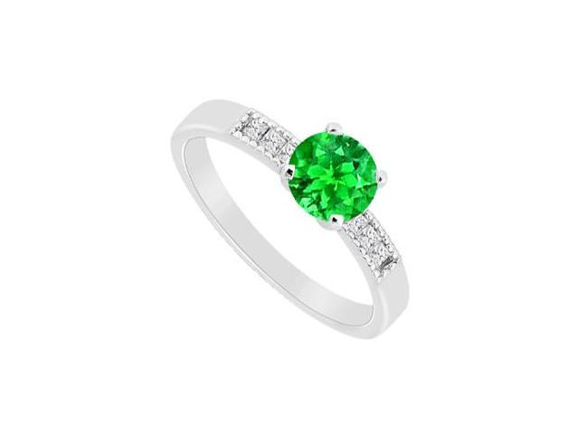 May Birthstone Created Emerald and Cubic Zirconia Engagement Rings 14K White Gold 1.10 CT TGW