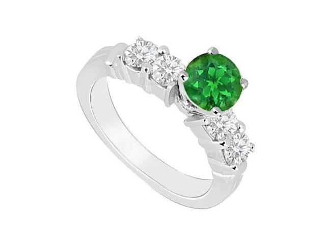 May Birthstone Created Emerald  CZ Engagement Rings in 14kt White Gold 0.90 CT TGW