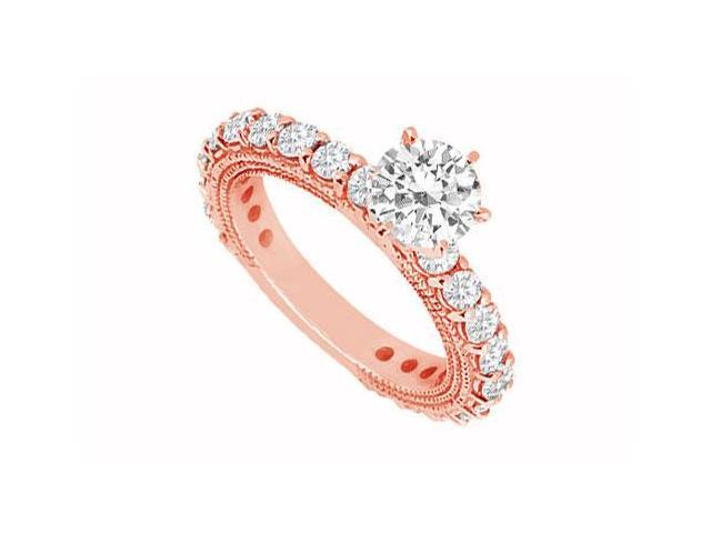 April Birthstone Diamond Milgrain Engagement Ring in 14K Rose Gold 1.50 CT TDW