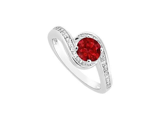 July Birthstone Created Ruby and Cubic Zirconia Engagement Ring in 14K White Gold 0.75.ct.tgw