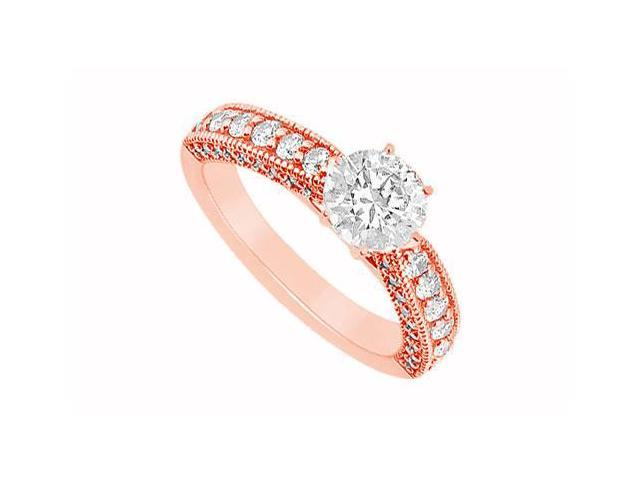 April Birthstone Diamond Milgrain Engagement Ring in 14K Rose Gold 1.00 CT TDW