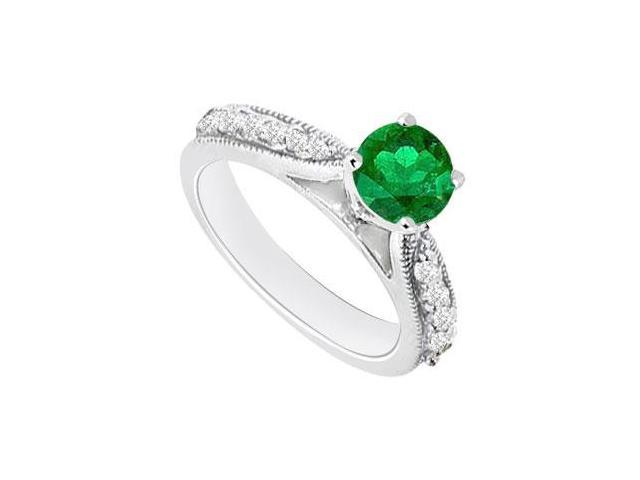 May Birthstone Created Emerald  Cz Milgrain Engagement Rings 14kt White Gold 0.80 CT TGW