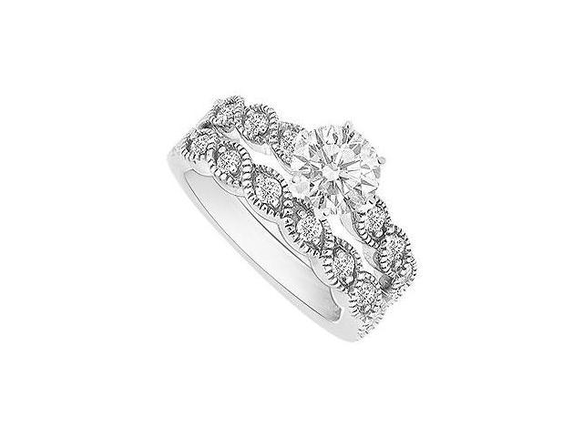14K White Gold Semi mount Ring with Wedding Band Set 0.25 CT Diamonds Not Center Diamond
