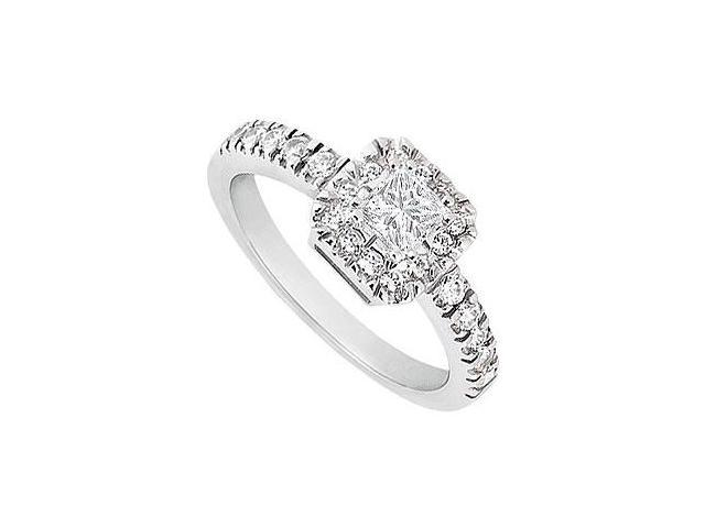 14K White Gold HaloSemi Mount Engagement Ring with 0.30 CT Diamonds Not Included Center Diamond