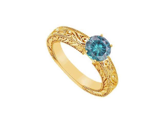 Blue Diamond Ring  14K Yellow Gold - 0.50 CT Diamonds