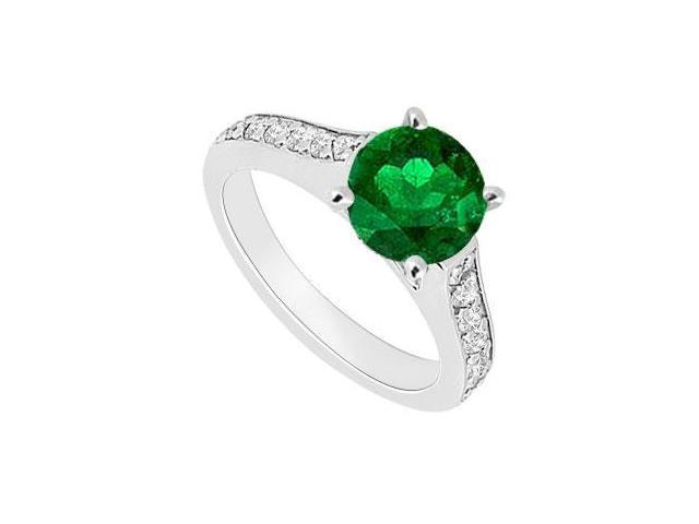May Birthstone Created Emerald and CZ Semi Eternity Engagement Ring 14kt White Gold 0.80 CT TGW