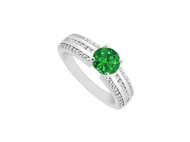 May Birthstone Emerald Prong set  Engagement Ring with Diamonds 14K White gold 1.10 CT TGW