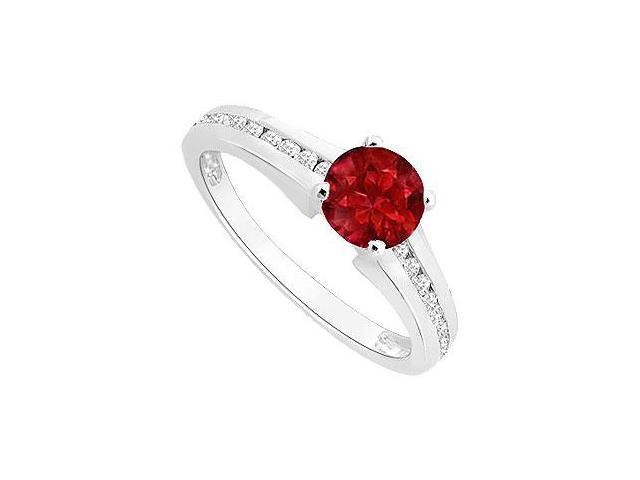 Birthstones Rubies and Cubic Zirconia Gemstones Engagement Ring 14k White Gold