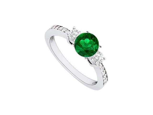 May Birthstone Created Emerald  Cz Engagement Rings 14kt White Gold 1.00 CT TGW