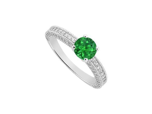 May Birthstone Emerald  Diamond Milgrain Engagement Ring in 14K White Gold 1.50 CT TGW