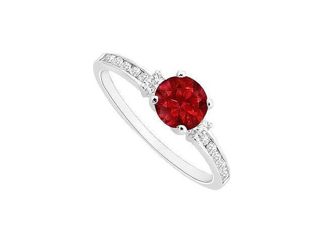 July Birthstones Rubies and Cubic Zirconia Gemstones Engagement Ring 14k White Gold