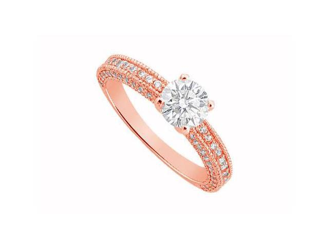 April Birthstone Diamond Milgrain Engagement Ring in 14K Rose Gold 1.25 CT TDW