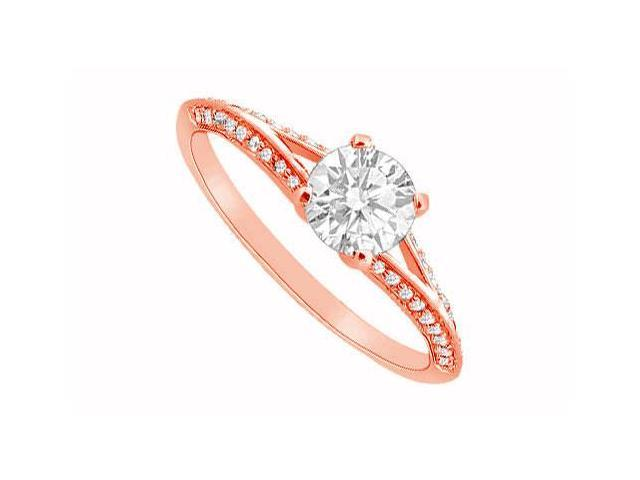 Split Shank Engagement Rings with Diamonds in 14K Rose Gold 0.75 CT TDW