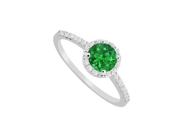 May Birthstone Emerald  Diamond Halo Engagement Ring in 14K White Gold 1 CT TGW