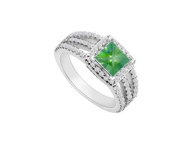 May Birthstone Created Emerald  Cz Halo Engagement Rings 14K White Gold 1.25 CT TGW