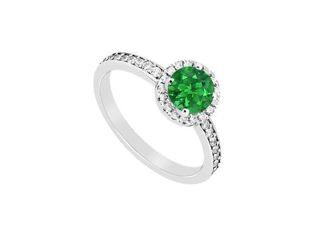 May Birthstone Natural Emerald and Diamond Halo Engagement Ring in 14K White Gold 1.05 CT TGW