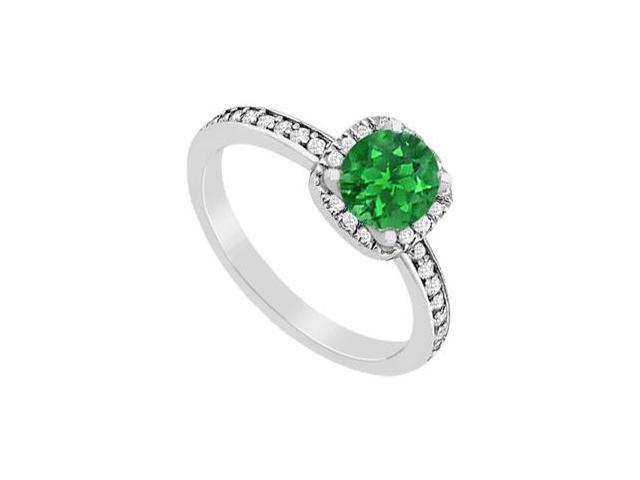 May Birthstone Emerald  Diamond Halo Engagement Ring in 14K White Gold 1.05 CT TGW