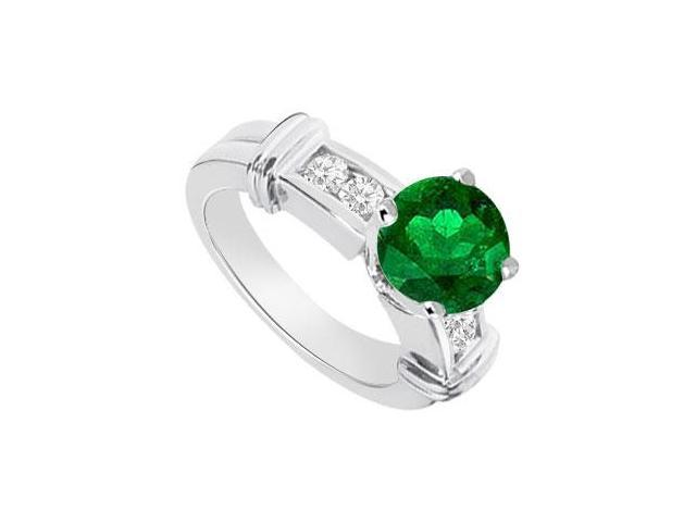 Emerald and Diamond Engagement Ring 14K White Gold  0.66 CT TGW