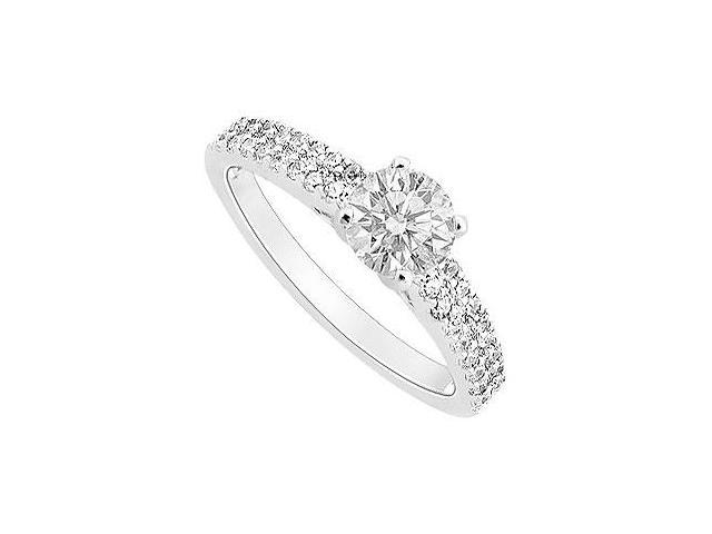 Semi Mount Engagement Ring in 14K White Gold with 0.50 CT Diamonds Not Included Center Diamond