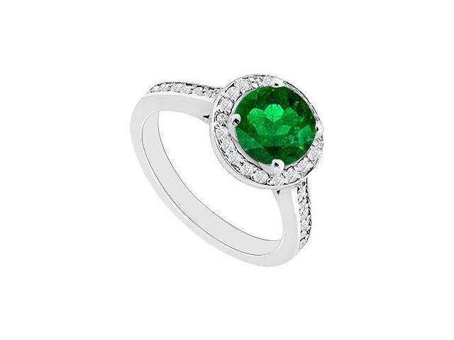 May Birthstone Created Emerald and CZ Halo Engagement Rings 14kt White Gold 0.80 CT TGW