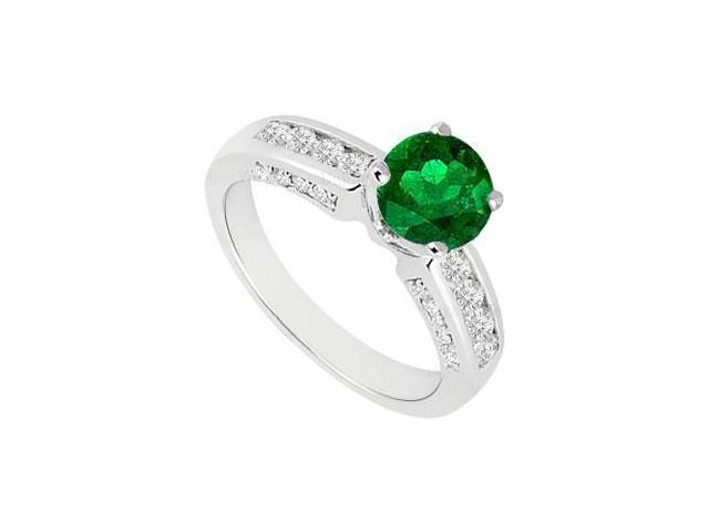 Emerald and Diamond Engagement Ring 14K White Gold  1.10 CT TGW